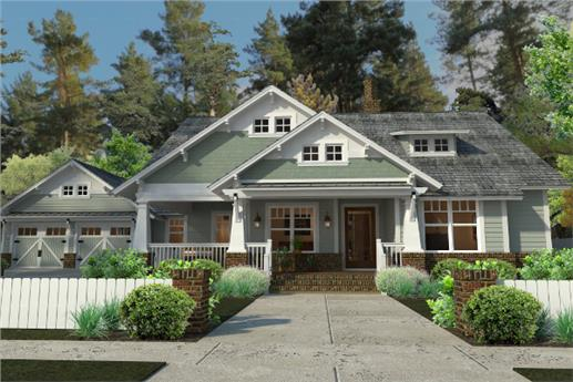 Gree Craftsman style home with white trim and front porch