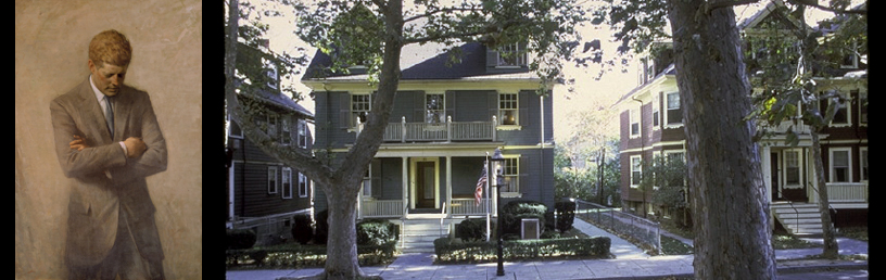 Photo of JFK and the house he lived in as a child on Beals Street