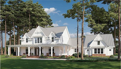 White Modern Farmhouse with steep gable roof, dormers, and covered front porch