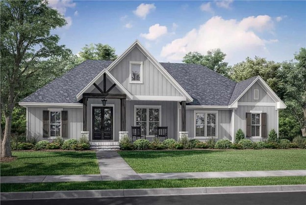 modern Farmhouse style home with gray vertical siding and front porch