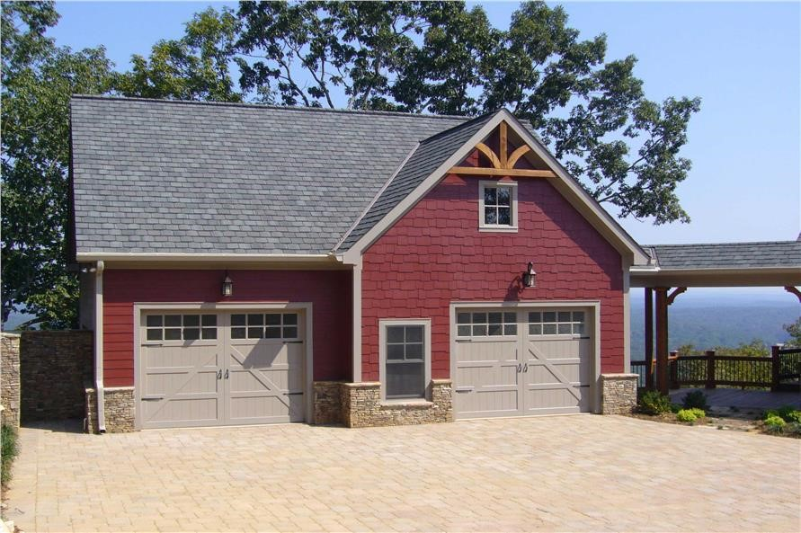 Red Craftsman-like garage with apartment overhead  house plan #163-1041