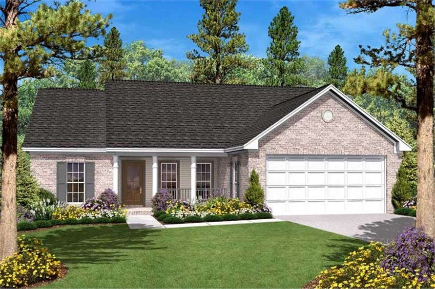 Conventional Ranch style home with front-entry garage
