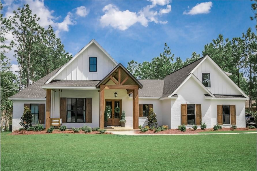 1-story white-and-wood European style home with 2,373 sq. ft. of living space