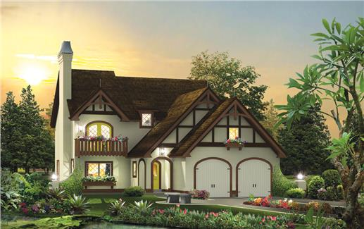 Tudor style home with white stucco exterior and brown trim and roof