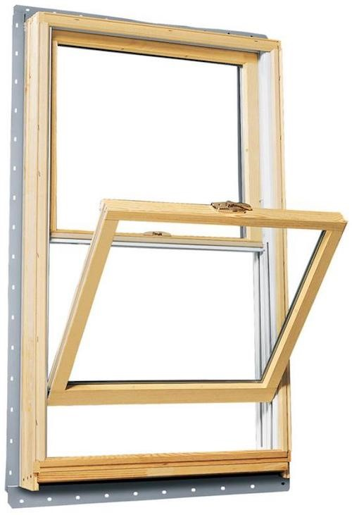 Double-hung window with bottom sash tilted out