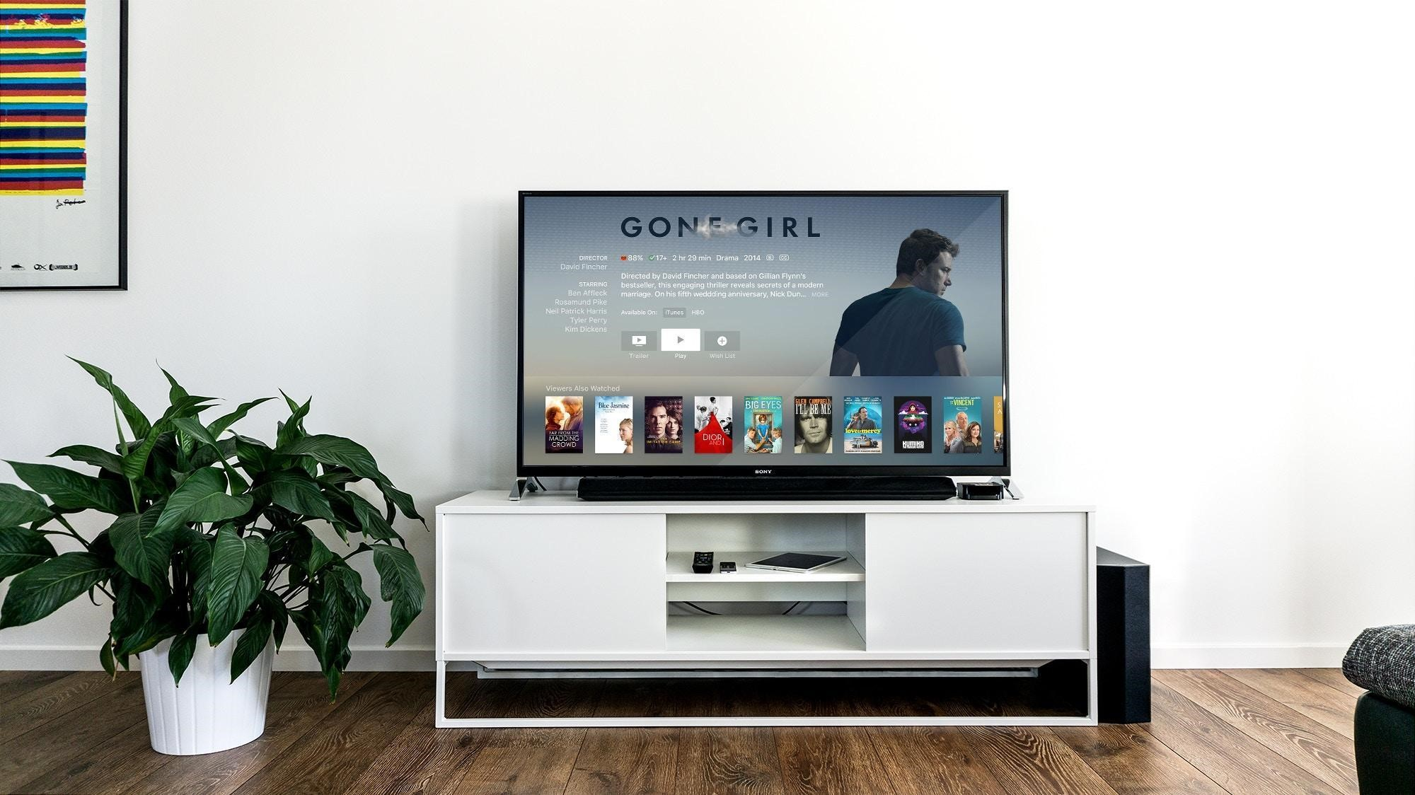 Smart TV that communicates with the Internet to provide access to dozens of entertainment apps