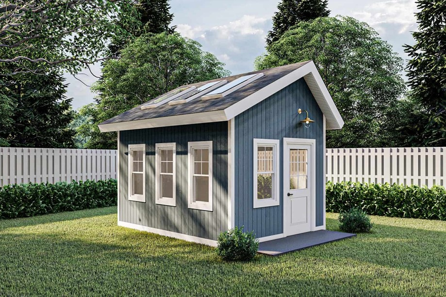 Shed that's 10 feet wide by 14 feet deep  perfect option for narrow storage shed