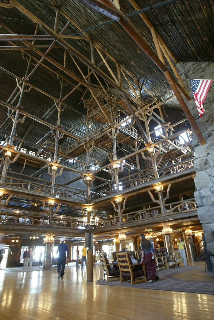 Lobby with 80-ft. tall ceiling in Old Faithful Inn at Yellowstone National Park