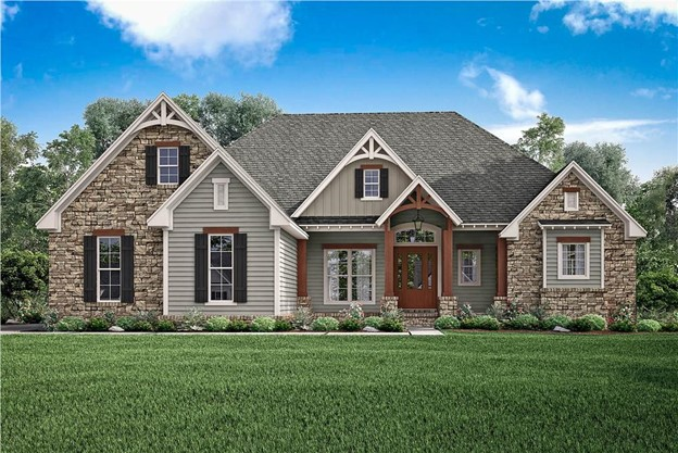 Transitional Country / Craftsman style home with stone, clapboard, and board-and-batten siding