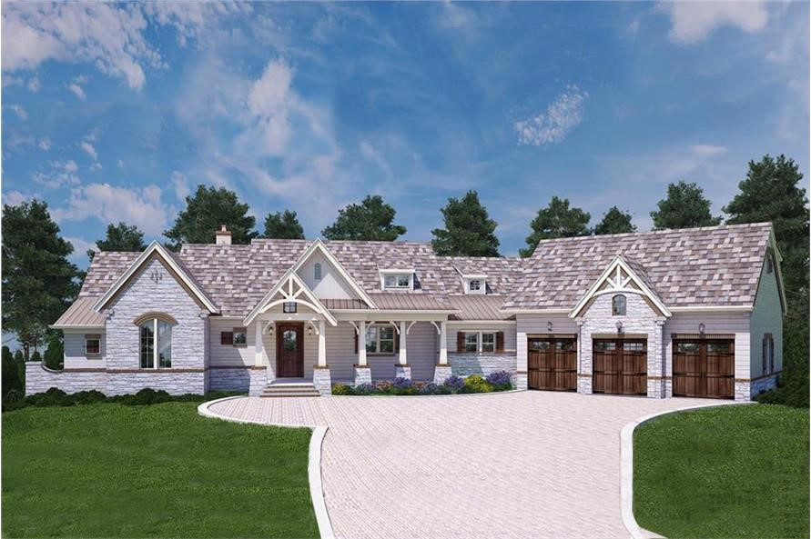 One-story Country style home with white siding and a three-car garage