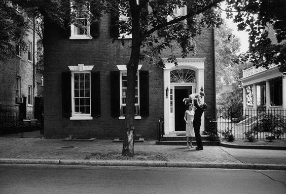 JFK family in front of N Street house in Georgetown, D.C.