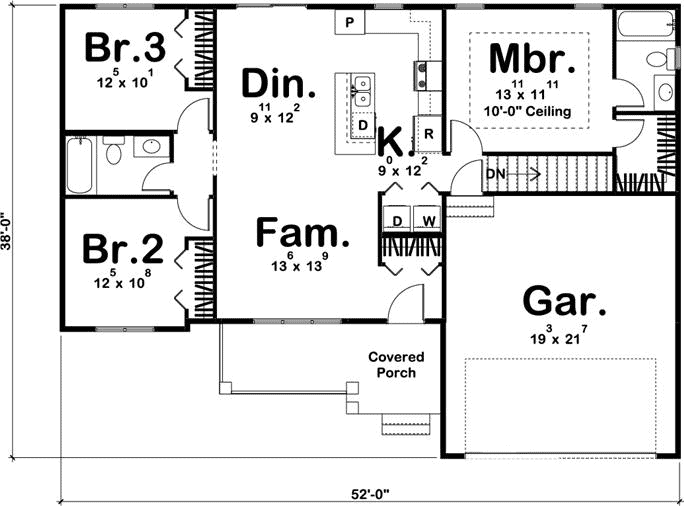 Floor plan of one-story Country Ranch style home  Plan #100-1210