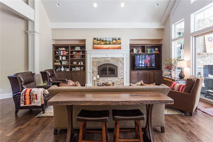 Built-in fireplace niche with shelving and woodwork