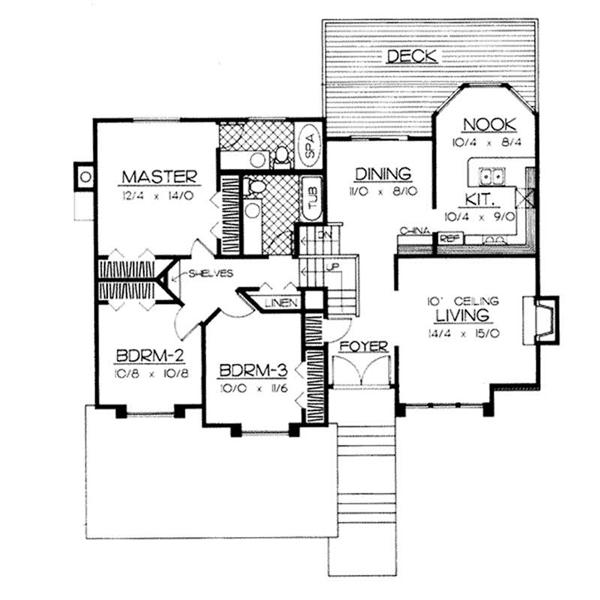 Small house plan layout with breakfast nook, dining area, and rear deck.