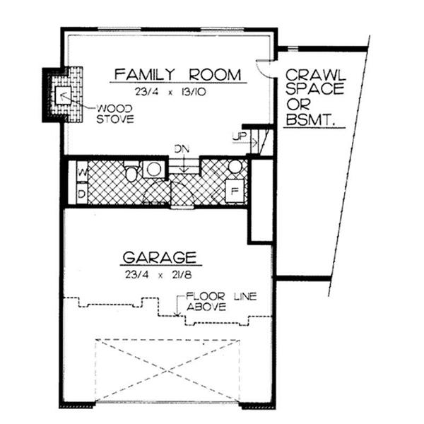 Floor plan for classic split level house plan