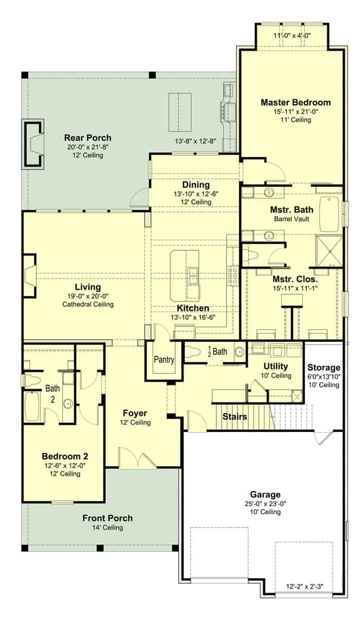 Floor plan layout of Cottage style plan #204-1017 showing tall ceiling heights