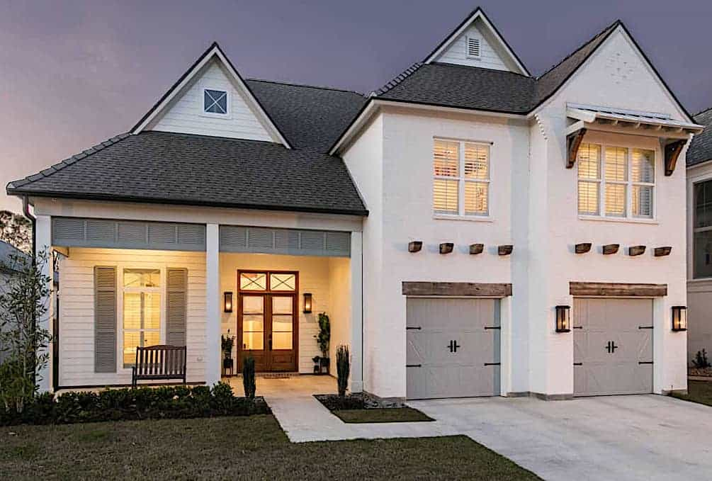 Contemporary Cottage style home with large front porch and gable overhang brackets for a rustic touch