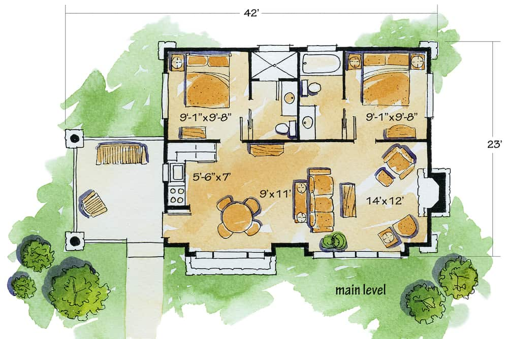 Floor plan of 681-square-foot home