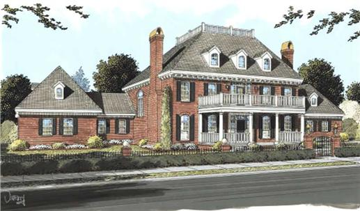 2-story Colonial home with 2-tier portico