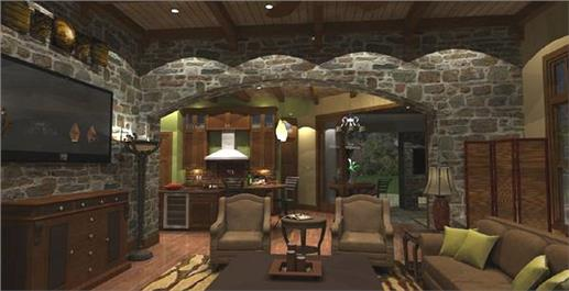 spacious Great Room of plan #117-1110 includes the family room and kitchen areas