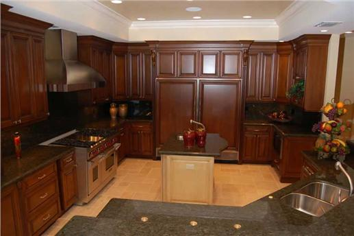 Cabinets and floors of thoroughly modern kitchen