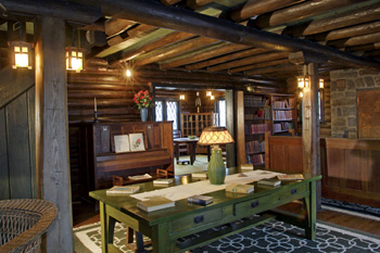 Inside The Stickley Museum Exposed Wood Beams Oak Furniture Designed Made By And Handwoven Area Rugs American Craftsman Houses