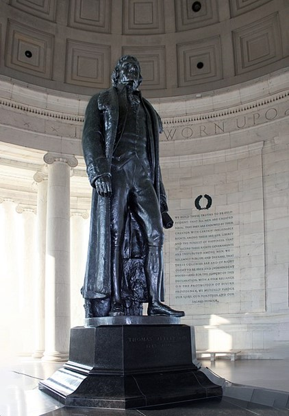 View of the interior of the Jefferson Memorial that includes some of the Ionic columns used