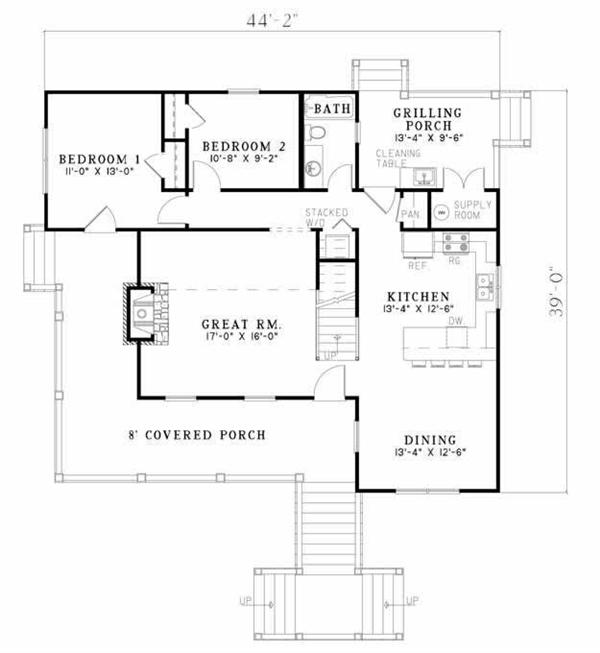 Low Country house plan 153-1899: main level floor plan