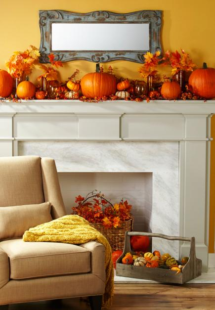 Fireplace mantel decked out for Thanksgiving entertaining