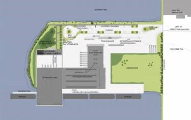 Plan view of Sunset Park Recovery Facility, in Brooklyn, NY, designed by Annabelle Selldorf
