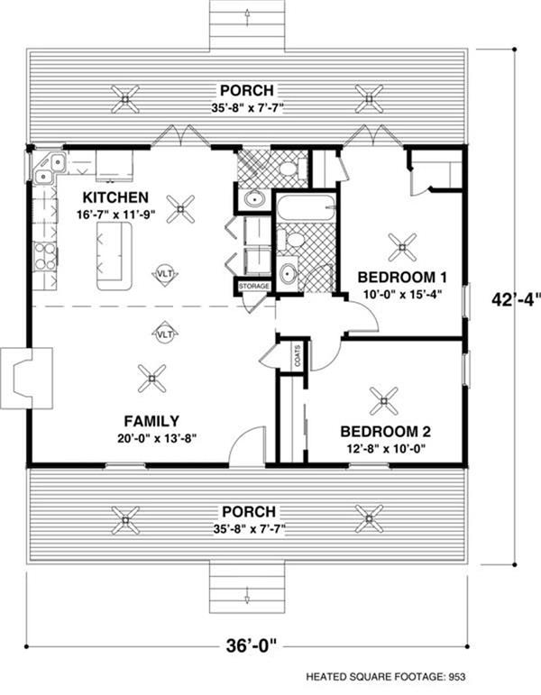 Simple floor plan layout with vaulted ceilings and plenty of porch space for outdoor living. From The Plan Collection.
