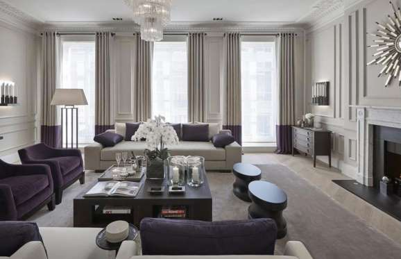 Modern living room in a Regency Townhouse at Eaton Square, London.