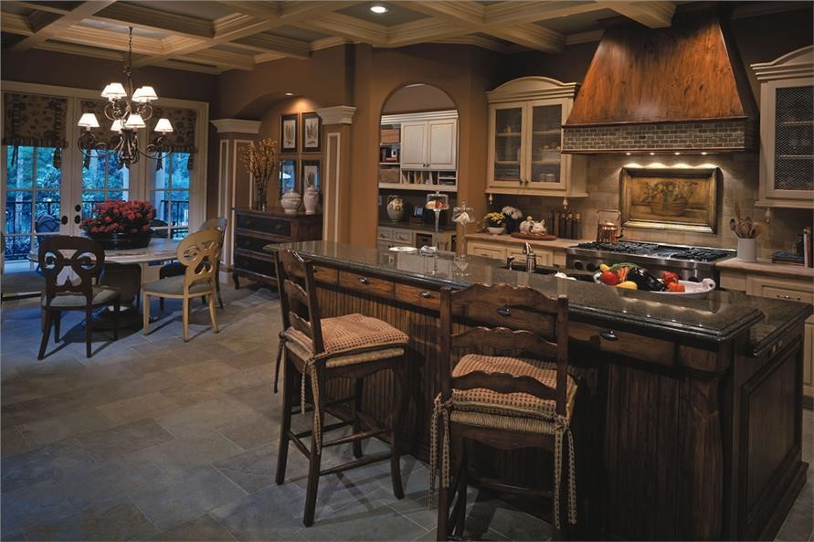 Cozy breakfast nook and kitchen island