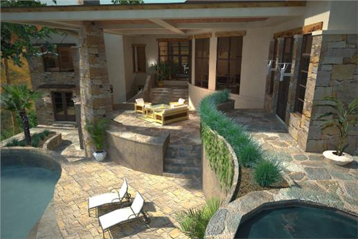 Attractive patio that overlooks the swimming pool of plan #117-1097