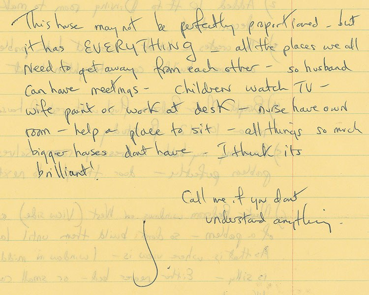 Note written by Jackie Kennedy about the Wexford estate