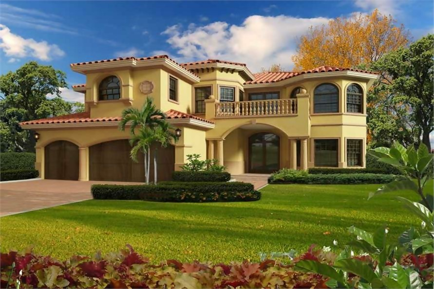Mediterranean home in a luxury floor plan with stucco siding and clay tile roof