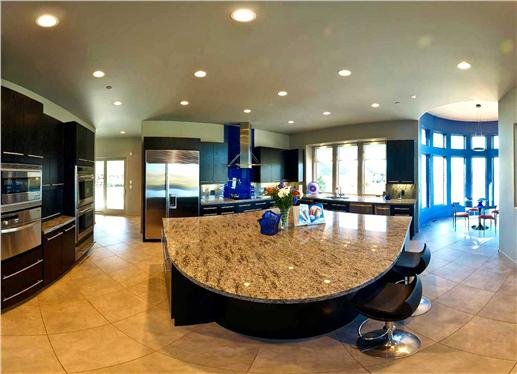 Kitchen with huge island.