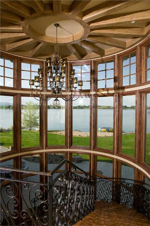 View from inside foyer overlooking lake.