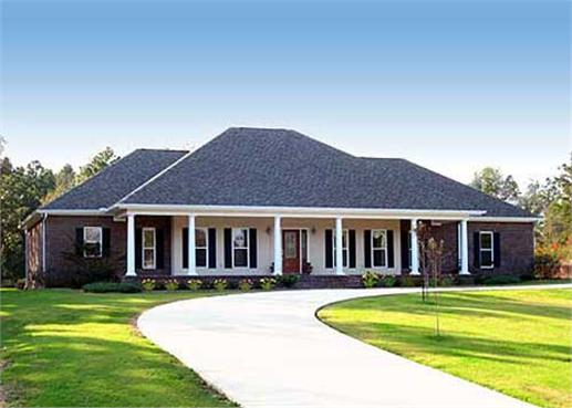 One story, four bedroom home with covered porch.