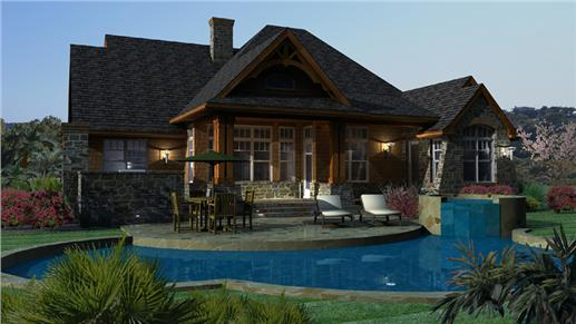 Rear view of luxury ranch home with swimming pool