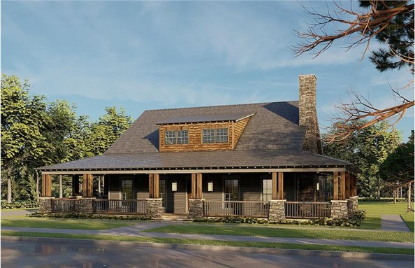 Wrap-around porch with doubled natural wood support posts on a Farmhouse style home