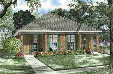 Contemporary duplex plan #153-1591 with 2 bedrooms and 2 baths in each unit