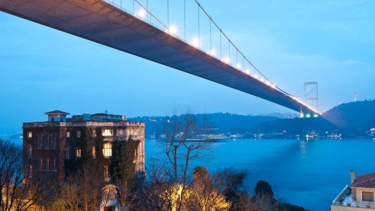 Mansion that sits under a major bridge in Istanbul connecting the European and Asian sectors of Turkey