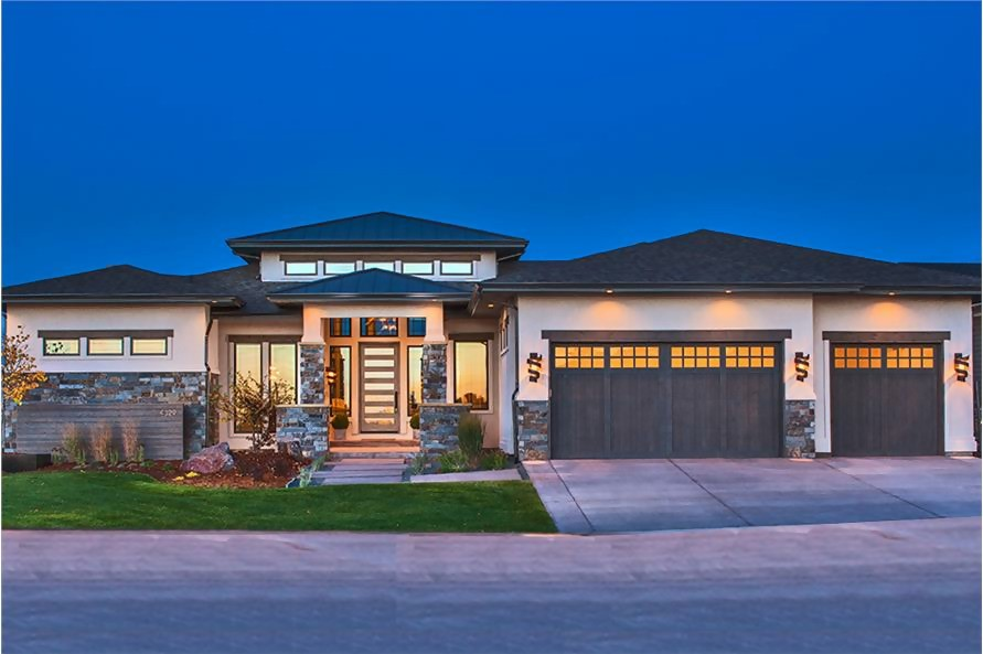 Contemporary style Ranch home with raised center, hip roof, and horizontal styling