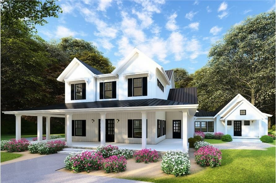 White Farmhouse style home with large wrap-around porch and separate bedroom wing