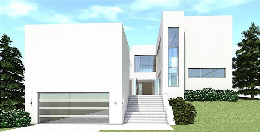 White Modern style home in 2 stories that shows Bauhaus influence