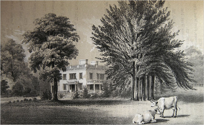 Illustration of Alexander Hamilton's Grange estate in its original location