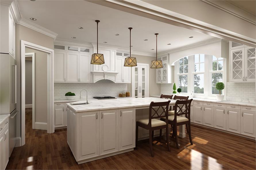 White kitchen in House Plan #106-1286