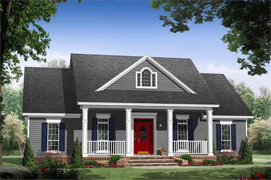 Bright red front door on a 1-story 3-bedroom, 2-bath Country style home