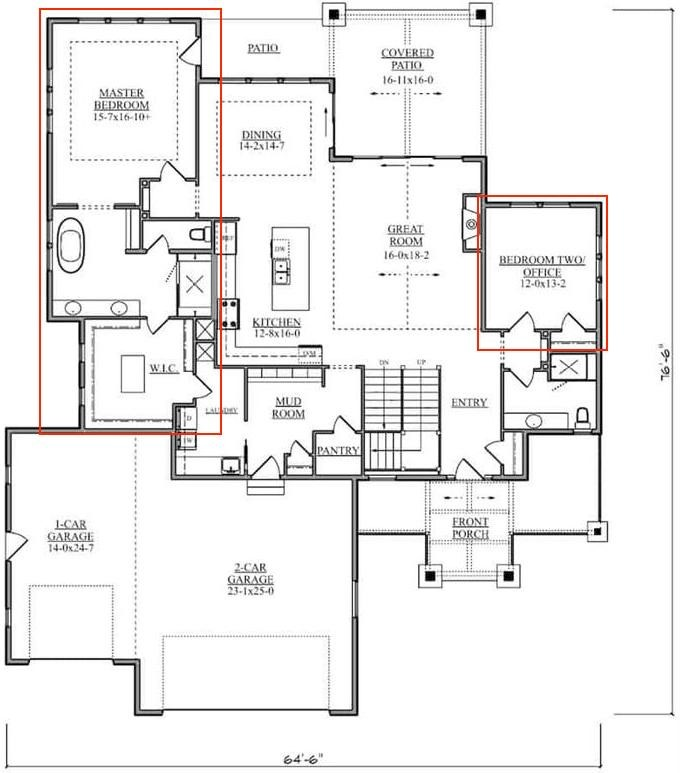 Main level floor plan of Farmhouse style home showing split bedroom design